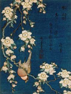 Bouvreuil sur une branche de cerisier pleureur, vers 1834 Reproduction d'art