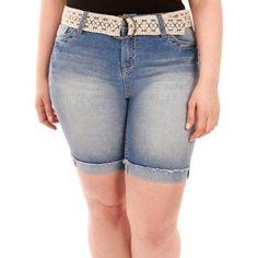 Plus Size Faded Glory Women's Plus Belted Denim Bermuda, Size: 24W, Blue
