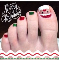 30 Best and Easy Christmas Toe Nail DesignsYou want to get your toenails ready for the holiday season? Are you looking for some cute and festive Christmas toenail art designs? Then, you have come at the right place. You don& have to spend a large sum of& Nail Noel, Xmas Nail Art, Holiday Nail Art, Xmas Nails, Pedicure Nail Art, Toe Nail Art, Toe Nails, Xmas Nail Designs, Toenail Art Designs