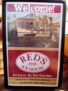 Menu Cover at Red's Ice House on Johns Island, SC