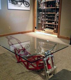 19 DIY Automotive Furniture Car Part Ideas (Update ) ) Motorcycle frame coffee table Man Cave Furniture, Garage Furniture, Car Part Furniture, Automotive Furniture, Automotive Decor, Furniture Plans, Kids Furniture, Modern Furniture, Furniture Design