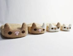 Cute Needle felted project wool animal cats(Via @kannis_cats_and_other)
