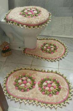Crochet For Home - Bathroom Crochet Eyes, Crochet Home, Knit Crochet, Vintage Crochet Patterns, Crochet Designs, Crochet Diagram, Bathroom Sets, Owl Bathroom, Crochet Doilies