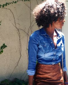 Style of The Week: Faux leather and jean shirt