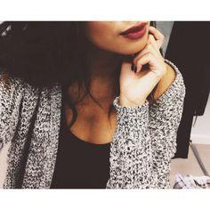 Dark lipstick + nails