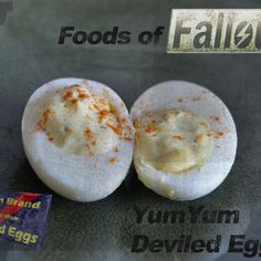 Someone requested I post all my Fallout inspired recipes together, so here they are. BlamCo Mac & Cheese Fancy Lads Snack Cakes Cook-Cook's Fiend Stew YumYum Deviled Eggs This post is possible thanks. Fallout New Vegas, Fallout 3, Fallout Theme, Fallout Props, Fallout Cosplay, Bioshock Cosplay, Star Wars Jedi Knight, Yum Brands, Deviled Eggs