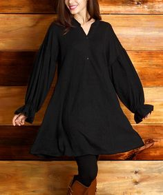 Another great find on #zulily! Black Button A-Line Puff-Sleeve Dress by Reborn Collection #zulilyfinds