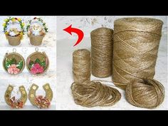 6 IDEAS of crafts from JUTE and improvised material. GIFTS with their own hands without cost. Twine Crafts, Crafts To Do, Yarn Crafts, Diy Crafts, Cardboard Crafts, Paper Crafts, Cardboard Rolls, Jute Flowers, Diy Projects For Beginners