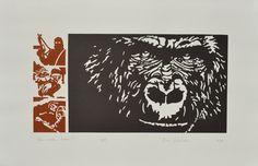 """""""Quo vadis, homo ?"""", linogravure réalisée par Eric Schelstraete en sept exemplaires, 2016."""