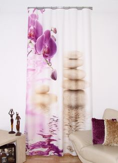 Hotový závěs s potiskem 3D vzor kameny s orchidejí