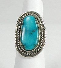 Navajo Sterling Silver Vintage Turquoise Ring