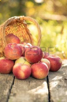 Czerwone jabłka na drewnianym stole w plenerze jesienią koncepcji Święto Dziękczynienia photo