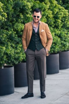 Articles of Style mustard yellow hemp/wool/cashmere jacket, a forest green donegal tweed waistcoat, a brown gingham shirt, a taupe suit trouser, and a chocolate suede tassel slipper.