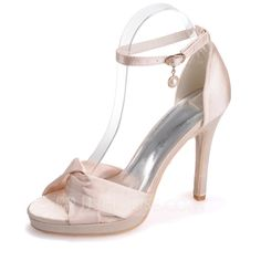 Totally wearing these to grad! [CA$ 73.33] Women's Satin Stiletto Heel Peep Toe Platform Sandals With Buckle.