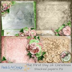 The First Day of Christmas by Angelique's Scraps Stacked papers 4 stacked papers part of the collection The First Day of Christmas Size: 3600x3600 300dpi  Format:Jpeg