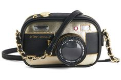 "Holiday gift for camera lovers: Betsey Johnson ""camera"" bag (not actually for holiday cameras.)"