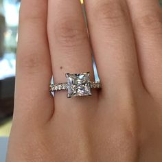 This Tacori Princess Cut Engagement Ring Setting is the perfect ring for the girl who loves a big, bold and beautiful ring! With roughly 0.57ct of round brilliant accent diamonds on the band.