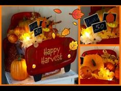 ~Dollar Tree Fall Diy~ Light Up Red Truck Centerpiece ~ Dollar Tree Fall, Dollar Tree Decor, Dollar Tree Crafts, Dollar Dollar, Dollar Tree Pumpkins, Dollar Stores, Thanksgiving Diy, Fall Crafts, Holiday Crafts