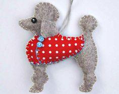 Poodle Christmas ornament, Felt dog ornament, Poodle decoration, Dog Christmas Ornament, Handmade felt Poodle, Little felt dog in coat.
