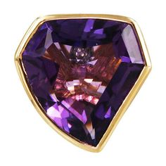 """Plukka """"""""Purple Roc"""""""" Amethyst Cocktail Ring ($1,750) ❤ liked on Polyvore featuring jewelry, rings, amethyst jewellery, pave ring, purple jewellery, 18k jewelry and amethyst cocktail ring"""