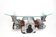 This Porsche 356 Engine Block Coffee Table is a remarkable automotive decor center piece for a car guy's living room, lounge, or garage. The cylinders, rocke