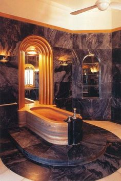 Amazing 15 Art Deco Bathroom Designs : Amazing 15 Art Deco Bathroom Designs With Black Marble Walls Floors And Wooden Bathtub And Fan Ceilin...