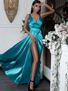 Prom Dress Beautiful, A-Line/Princess Sleeveless V-neck Floor-Length Ruffles Satin Dresses Discover your dream prom dress. Our collection features affordable prom dresses, chiffon prom gowns, sexy formal gowns and more. Find your 2020 prom dress Sexy Evening Dress, V Neck Prom Dresses, Plus Size Prom Dresses, Cheap Evening Dresses, A Line Prom Dresses, Satin Dresses, Sexy Dresses, Evening Gowns, Dress Prom