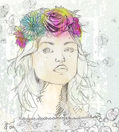 i love paintings of girls with flowers in their hair