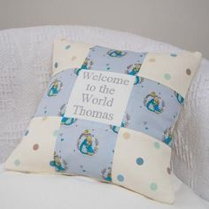 Peter Rabbit© Welcome To The World Cushion Pillow Embroidery, Embroidered Cushions, Polka Dot Fabric, Blue Polka Dots, Peter Rabbit Toys, Beatrix Potter Nursery, Patchwork Cushion, Cotton Linen, Baby Gifts