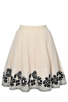 Swiss Miss Beige and Black A-Line Knit Skirt  www.lilyboutique.com