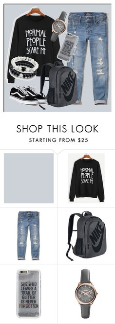"""""Normal People Scare Me"""" by andi-143 on Polyvore featuring WithChic, Hollister Co., NIKE, Agent 18 and FOSSIL"