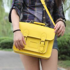 Handmade Genuine Leather Satchel / Messenger Bag / Backpack - Yellow