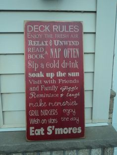 Want! Vintage Style Porch, backyard, Deck,   Patio Rules Typography Word Art Sign via Etsy