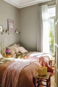 shared girl bedroom decor, pink and gray girl bedroom, shared girl room with gray wainscotting, gray Girls Bedroom, Girl Bedroom Designs, Cozy Bedroom, Girl Room, Bedroom Decor, Interior Design, Home Decor, Boho Girl, Pink Bedding