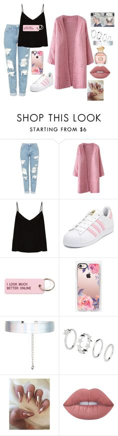 """my style not like you"" by megi-queen on Polyvore featuring Topshop, Raey, adidas, Various Projects, Casetify, Accessorize, Lime Crime and Tory Burch"