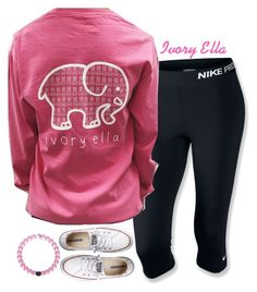 """""""supporting elephants, and breast cancer awareness"""" by ivory-ella ❤ liked on Polyvore featuring NIKE and Converse"""