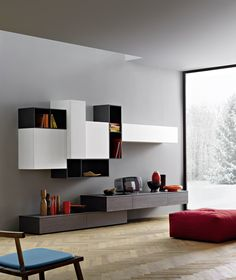 Appoggio Wall Unit by Sangiacomo, Italy in grey oak veneer, bianco ash-effect melamine and matt antracite lacquer. San Giacomo, Modern Wall Units, Tv Wand, Interior And Exterior, Interior Design, Grey Oak, Contemporary Interior, Chair Design, Modern Furniture