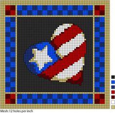 americana heart free cross stitch chart