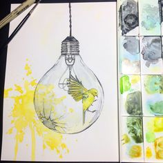 """Shattering [Inside your head]"" Watercolor on Hot Pressed ***Just finished it!!  Prints will soon be for sale in my Etsy shop! ""Of course it is happening inside your head, Harry, but why on earth should that mean that it is not real?"" -Dumbledore #yellowbird #free #paintsplatter #yellow #lightbulb #paint #painting #watercolor #watercolorart #artwork #watercolorpainting #art #artist #harrypotterquote"