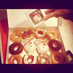 "My mother bought ""krispy kreme doughnuts"" (._.) but I love more ""mister doughnuts""  (´・Д・)」 sorry mother I don't wanna tell u that (u_u)"