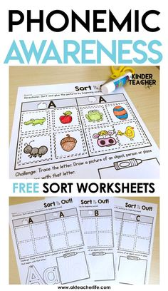 FREE phonemic awareness worksheets! Students sort by beginning sounds (just pictures, no words). They practice writing the letter and draws a picture of an object that starts with the same letter.