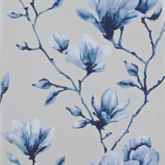 Harlequin Lotus Wallpaper - 110881 ($78) ❤ liked on Polyvore featuring home, home decor, wallpaper, backgrounds, blue, blue pattern wallpaper, blue metallic wallpaper, floral home decor, magnolia wallpaper and diamond wallpaper