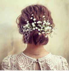 かすみ草、ウェディングヘア、babysbreath,weddinghairstyle