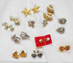 10 Vintage Pair Earrings, Clip, Screwback, Pierced, 2 Trifari and 1 Coro #Trifari #mixedlot