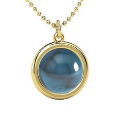 Cabochon Round London Blue Topaz 14K Yellow Gold Necklace - Pure Cabochon Bezel Pendant