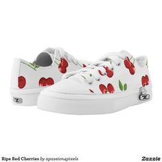 Shop Ripe Red Cherries Low-Top Sneakers created by Personalize it with photos & text or purchase as is! Baby Sneakers, Custom Sneakers, Custom Shoes, White Sneakers, Baby Shoes, Painted Sneakers, Painted Shoes, Painted Converse, Diy Clothes And Shoes