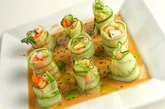 Shrimp & Cucumber Rolls w/ Sesame Vinaigrette, Cilantro Oil Low Calorie Sushi, Shrimp Recipes, Appetizer Recipes, Holiday Appetizers, Popular Appetizers, Canapes Faciles, Cucumber Rolls, Healthy Snacks, Healthy Recipes