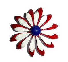Vintage MOD Huge Daisy Brooch 60s Red by PopcornVintageByTann #modfashion #daisybrooch #vintagedaisy #viintagebrooch #enamelflower #enamelflowerbrooch #flowerbrooch #floralbrooch #patrioticjewelry #usajewelry #americana #1960sjewelry #60sdaisybrooch #daisybroach #daisypin #redwhiteblue #electionjewelry #carnaby #twiggy #sixties #flowerpower #enamelleddaisy #vintageflowerbrooch #vintagejewelry #modjewelry #60smodjewelry #60smod #popcornvintagebytann