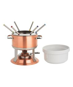 This 3-In-1 Lumina Copper Fondue Set by Trudeau is perfect! #zulilyfinds