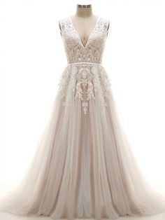 Lace Wedding Dresses A-Line Court Train Tulle and Lace Wedding Dress - Latest A-Line V-Neck Natural Chapel Train Tulle and Lace Ivory/Champagne Sleeveless Open Back Wedding Dress with Appliques and Beading Open Back Wedding Dress, Wedding Dress Train, Applique Wedding Dress, Applique Dress, Long Wedding Dresses, Tulle Wedding, Wedding Gowns, Mermaid Wedding, Grecian Wedding
